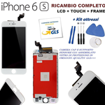 TOUCH SCREEN + LCD DISPLAY RETINA + FRAME COMPATIBILE PER APPLE IPHONE 6S VETRO BIANCO + KIT
