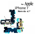 FLAT FLEX CARICA PER APPLE IPHONE 7 CONNETTORE RICARICA + MICROFONO NERO
