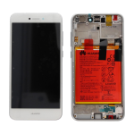 DISPLAY LCD + TOUCH SCREEN SCHERMO + FRAME + BATTERIA ORIGINALE  HUAWEI ASCEND P8 LITE 2017 BIANCO SERVICE PACK