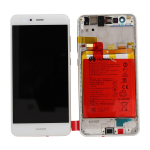 VETRO DISPLAY LCD TOUCH SCREEN + FRAME + BATTERIA ORIGINALE HUAWEI P10 LITE BIANCO WAS-LX1A SERVICE PACK